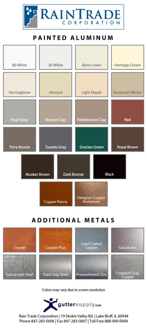 guttersupply color chart gutter supply