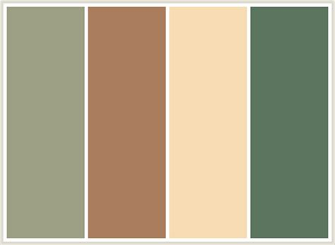 brown color combination colorcombo79 with hex colors 9c9f84 a97d5d f7dcb4 5c755e