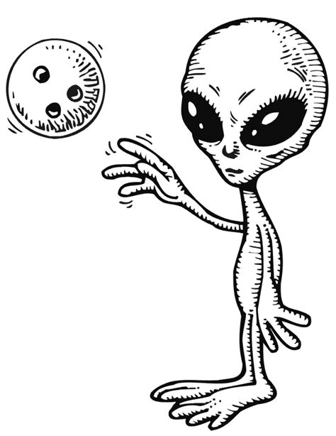 alien bowling coloring pages for kids