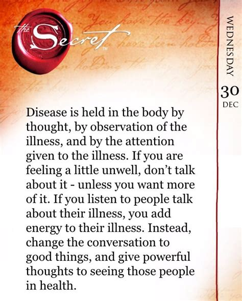the secret daily teachings 1471130614 disease is held in the body by thought by observation of the illness and by the attention