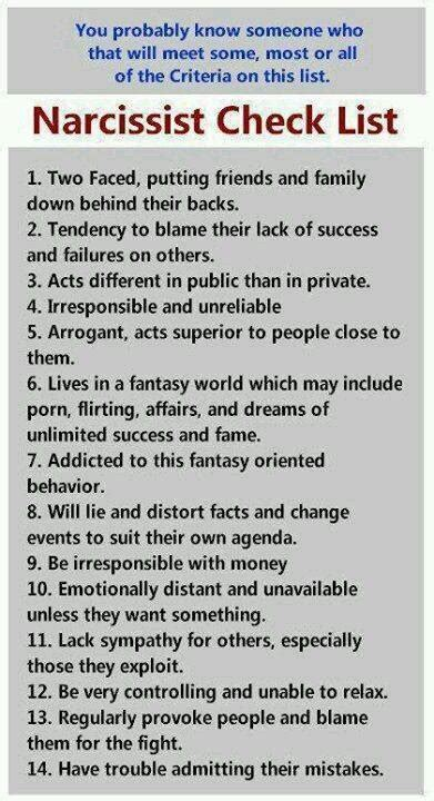 narcissist checklist surviving narcissistic abuse