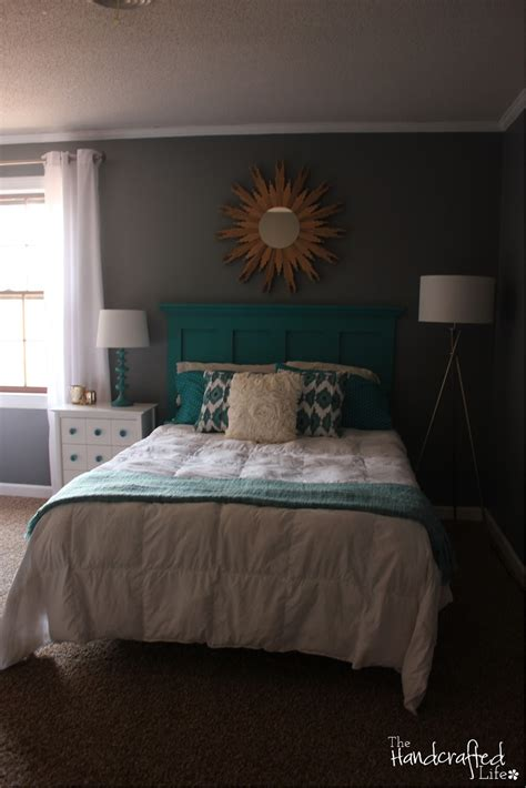 white and teal bedroom the handcrafted life teal white and grey guest bedroom