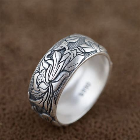 flower pattern ring v ya pure 925 sterling silver rings flower pattern new