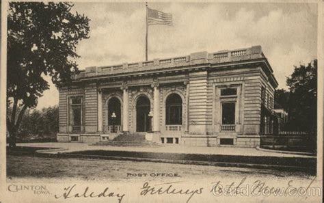 Clinton Iowa Post Office by Post Office Building Clinton Ia Postcard