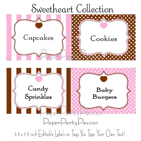 editable label templates buffet printable editable labels or tags pink