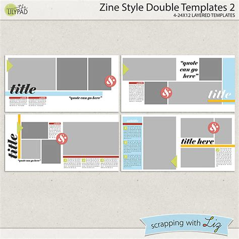 Digital Scrapbook Template Zine Style Double 2 Scrapping With Liz Zine Magazine Template