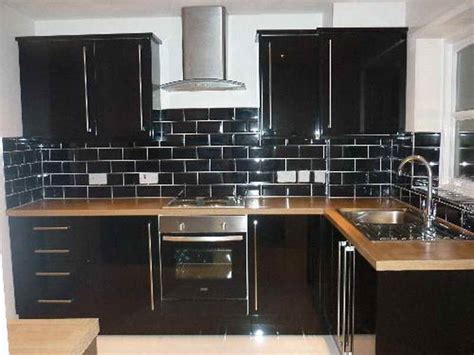 kitchen kitchen backsplash with black subway tiles