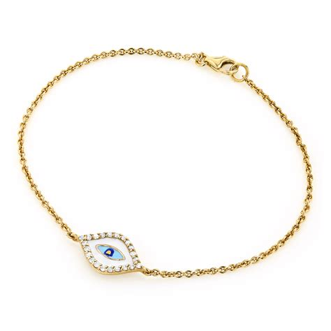 14k gold evil eye bracelet 0 10ct