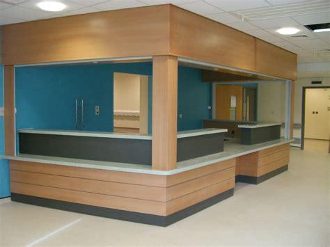 local hospital a e reception desk in beech veneer with