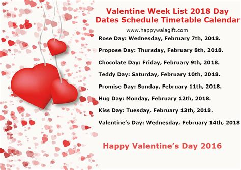 week after 14th feb valentines day week list 2018 with dates day 14th february