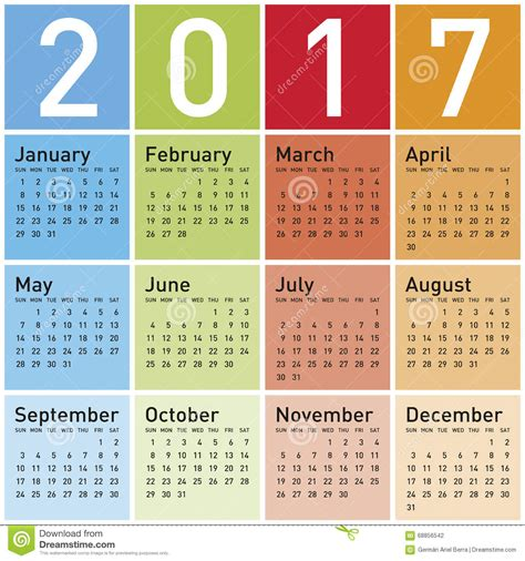 pendant l calendrier color 233 pendant l 233 e 2017 illustration de