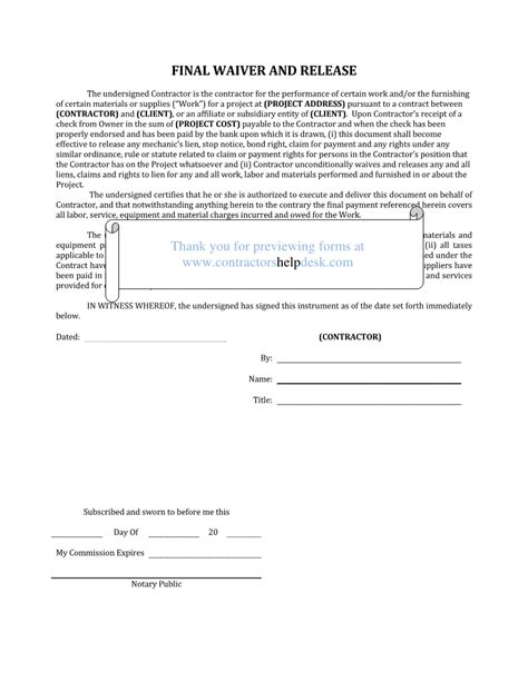 waiver template word contractors help desk forms