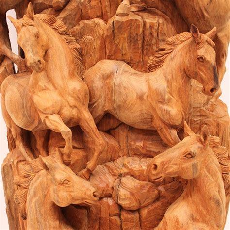 imagenes de paisajes tallados en madera talla caballos tronco 150x50cm narai decor