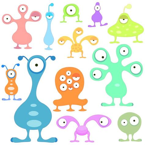 space aliens repositionable childrens wall stickers kids