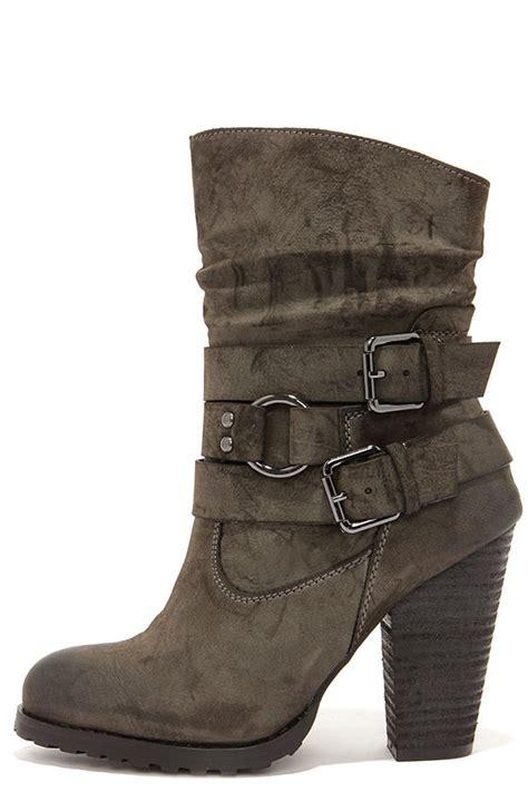 Mid Calf High Heel Boots khaki boots high heel boots mid calf boots 47 00