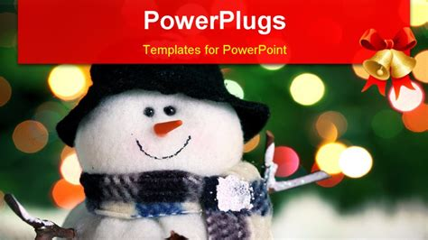 Powerpoint Template Festive Snowman And Christmas Light Background With Bells 12001 Festive Powerpoint Templates