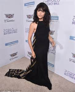 dancing with the stars side swept bang ebony selma blair dons colourful flowing gown with ruffles to