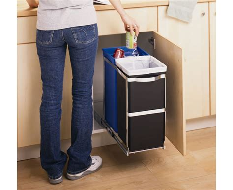 under cabinet trash bins simplehuman 35 litre under counter pull out recycler
