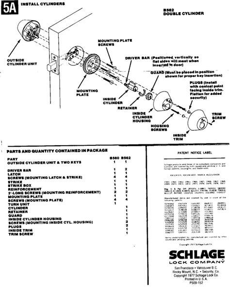 schlage deadbolt parts diagram image gallery schlage parts