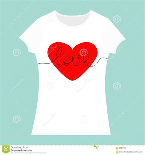 word love lettering red heart t shirt template white