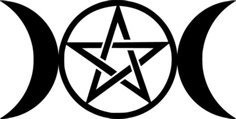 triple moon pentagram die cut decal car window wall bumper
