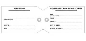 world war 2 identity card template world war 2 evacuee tag