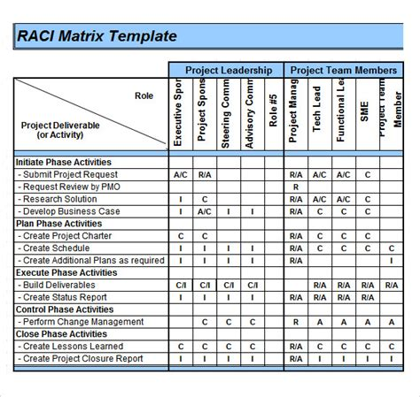 excel matrix template sle raci chart 7 free documents in pdf word excel