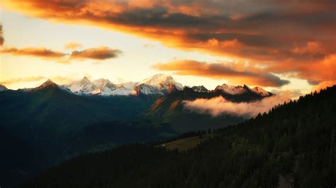 wallpaper mont blanc french alps sunset hd nature