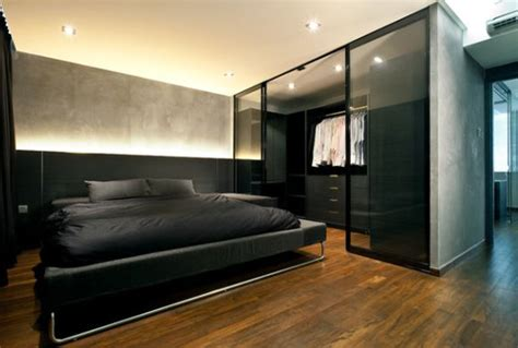 Closet Pictures Design Bedrooms by Black Bachelor Pad Bedroom With Walk In Closet