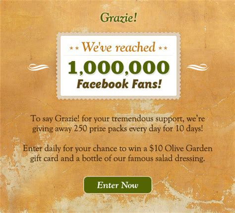 Olive Garden Sweepstakes - olive garden sweepstakes who said nothing in life is free
