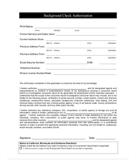 Employment Background Check Authorization Form 11 Sle Employment Authorization Forms Free Sles