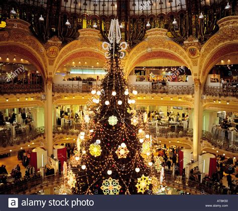 christmas tree in lafayette galeries lafayette tree boulevard stock photo royalty free image