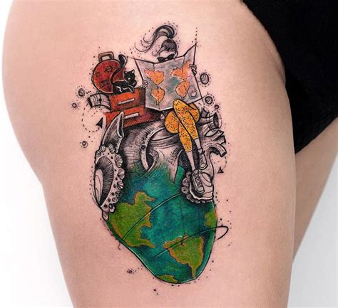 watercolor travel tattoos wolf headdress hip best design ideas