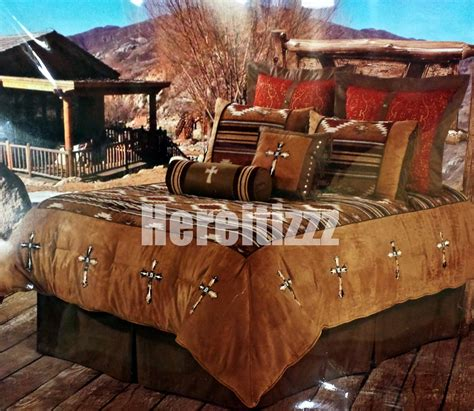 navajo comforter sets southwestern navaho cowhide cross rustic bedding set