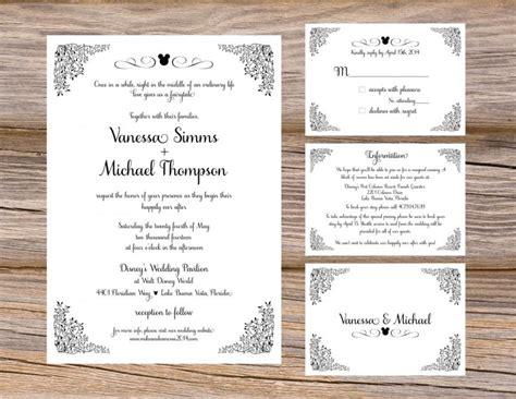 Unique Wedding Invitation Inserts by Disney Fairytale Wedding Invitation Suite Mickey Magic