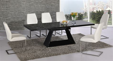 black gloss dining table and chairs black glass extending high gloss dining table and 6 white