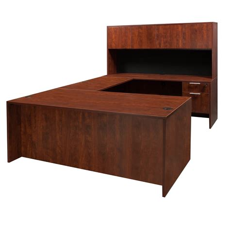 cherry desk everyday u shape laminate desk cherry national office interiors and liquidators