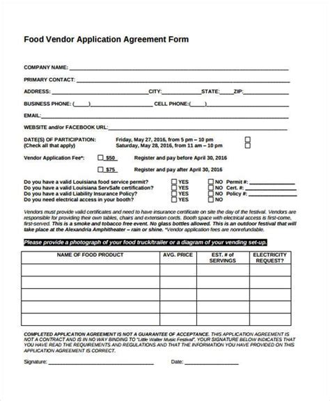 Vendor Agreement Letter Format 8 Vendor Agreement Form Sles Free Sle Exle Format