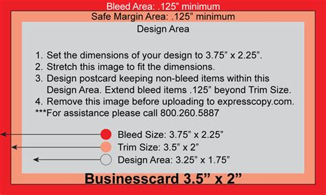 Business Card Bleed And Trimline Template by Standard Business Card Size