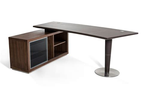 Modern Desk With Storage Modrest Lincoln Modern Office Desk And Side Storage Cabinet
