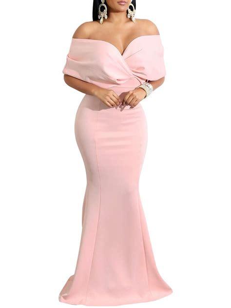 gobles v neck the shoulder evening gown fishtail maxi dress pink