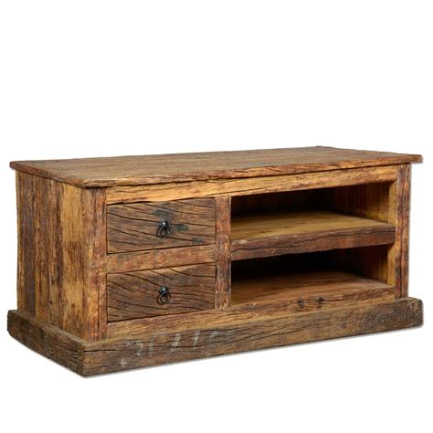 reclaimed wood media cabinet rustic railroad reclaimed wood media center console
