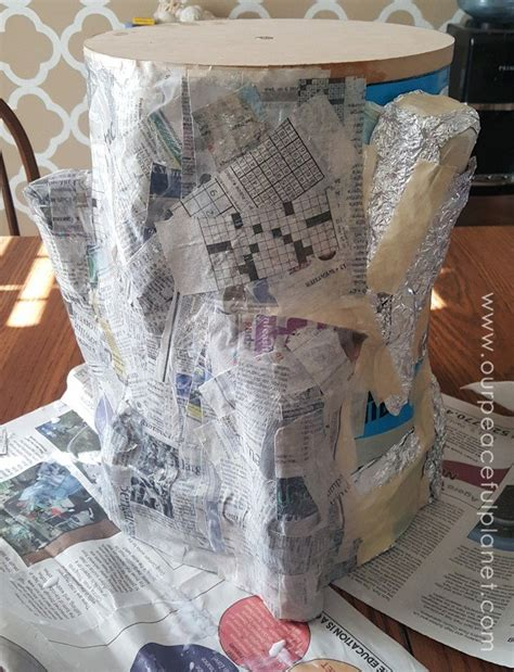 How To Make Strong Paper Mache - paper mache tree stump stool