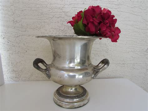 Silver Metal Planters by Vintage Silver Metal Urn Planter Heavy Silver Colored Metal