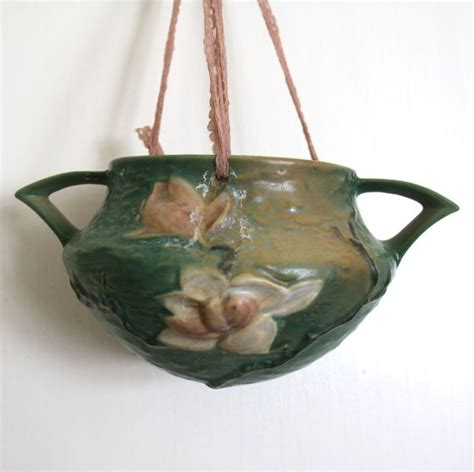 Roseville Hanging Planter by Roseville Pottery Quot Magnolia Quot Antique Hanging Planter