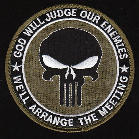 Rubber Patch God Will Judge Our Enemies Emblem Velcro Punisher navy seal god will judge our enemies we ll arrange the meeting patch green weapons