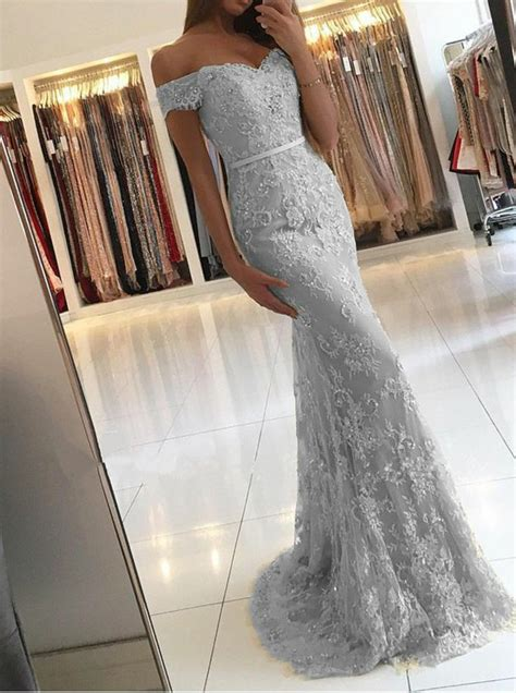light gray formal dresses mermaid the shoulder light gray lace prom dress with