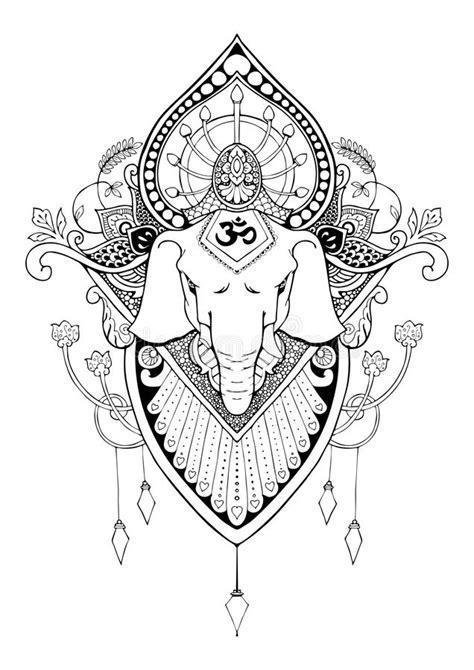 Tatuagem Oriental Do Desenho Da Mandala De Ganesha