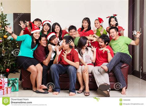 christmas group shot of asian people stock photo image