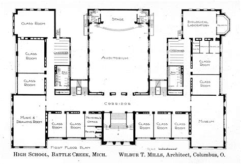layout of school building first floor plan knowlton school digital library